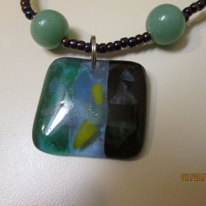 Handmade Fused Glass pendant with green aventurine